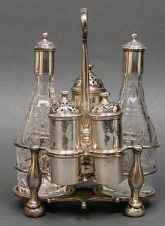 Irish Sterling Silver Cruet Set, 18th Century