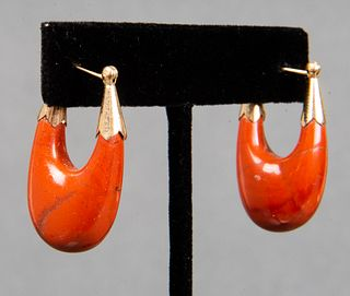 Vintage 14K Yellow Gold & Red Jasper Hoop Earrings