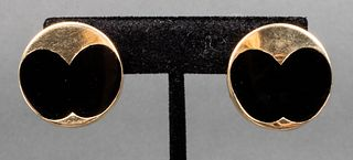 Mid-Century Modern 14K Yellow Gold & Onyx Earrings