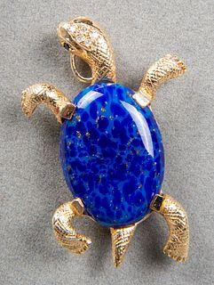 14K Diamond, Sapphire & Hardstone Turtle Brooch