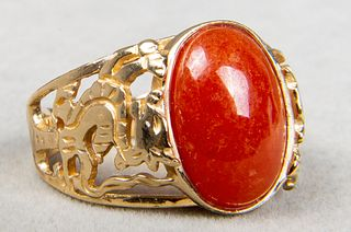 14K Yellow Gold & Orange Jade Dragon Motif Ring