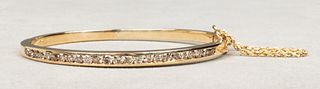 Vintage 14K Yellow Gold Diamond Bangle Bracelet