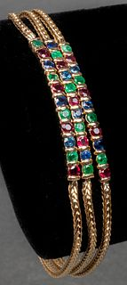 14K Yellow Gold Emerald, Ruby & Sapphire Bracelet