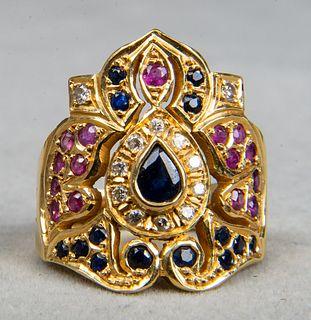 18K Yellow Gold Diamond & Sapphire & Ruby Ring