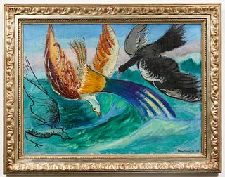 "Ben Benn ""Birds & Fish"" Oil on Canvas, 1930"