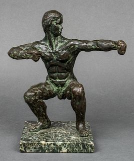 Modern Bronze Male Nude Archer Sculpture