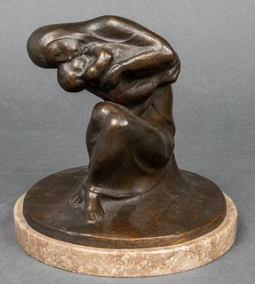 "Bernhard Sopher ""Mother & Child"" Bronze Sculpture"