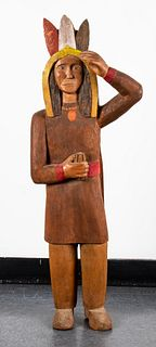 "Signed Folk Art Carved Wood ""Indian"" Figure"