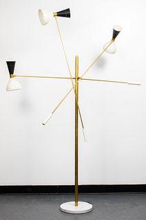 Italian Stilnovo Style Triple Arm Floor Lamp