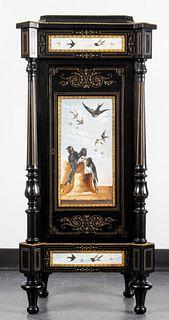 Napoleon III Ebonized Porcelain Inset Cabinet