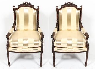 Louis XVI Manner Fauteuil à la Reine Chairs, Pair