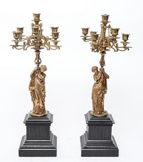 After Moreau French Gilt Bronze Candelabra, Pr