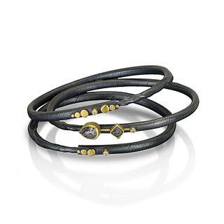 One of a kind Diamond Twig Bracelet Set, Stepping Stone Series. Size small