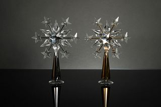 Swarovski, 2 Crystal Tree Toppers - Chrome and Gold