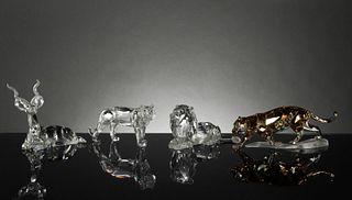 Swarovski, 4 Boxed Crystal Animals, Kudu and Cats