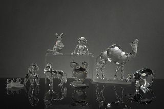 Swarovski, 8 Boxed Silver Crystal Animals