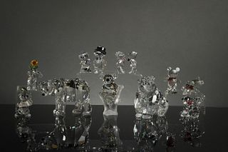 Swarovski, 10 Boxed Crystal Bears and Teddy Bears