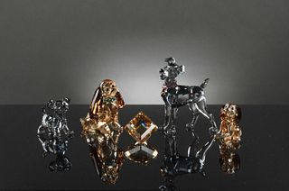 Swarovski, 5 Boxed Crystal Lady and the Tramp Pieces