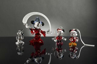 Swarovski, 4 Boxed Disney including 2 Sorcerer Mickey