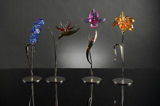 Swarovski, 4 Boxed Colored Long Stem Flowers