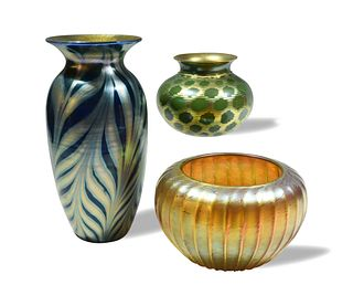 3 Lundberg Studio Art Glass Vases