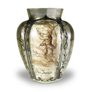 Painted Glass Vase with Hunters, 19th Century