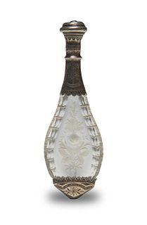 Victorian Silver Mounted Etched Glass Perfume