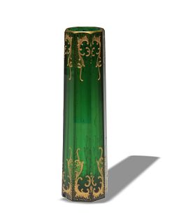 Moser Emerald Green and Gilt Enamel Bud Vase