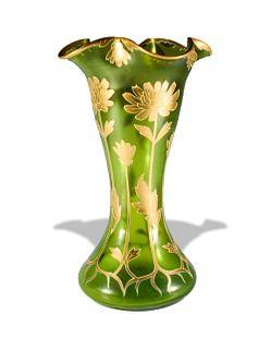 Large Bohemian Moser Style Art Nouveau Vase