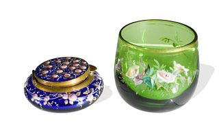 2 Cobalt Enamel Decorated Box, attributed to Moser