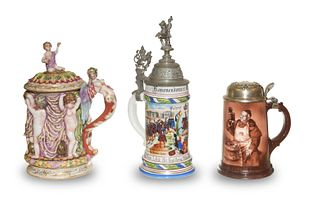 3 Antique Beer Steins, Late 19th - Early 20th C.