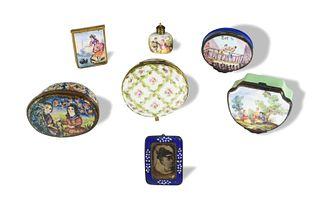 7 Pieces of Antique Porcelain Enamel Ware