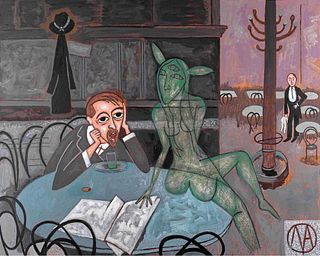 Michael Andryc, The Absinthe Drinker (After Viktor Oliva)