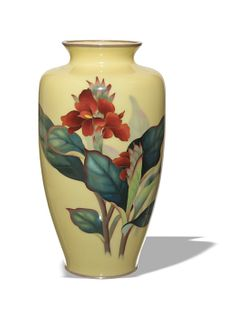 Japanese Ando Yellow Ground Vase, Meiji