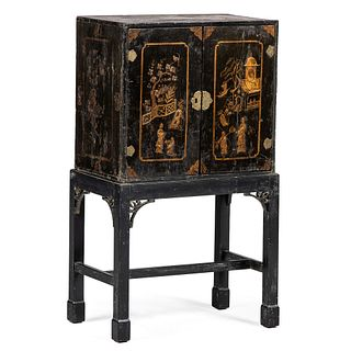 An English Japanned Chest on Frame
