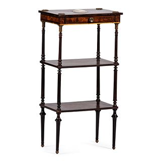 An English Burlwood Three Tiered Occasional Table with Inset Wedgwood Plaque