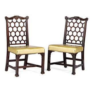 A Pair of Chinese Chippendale Style Mahogany Side Chairs