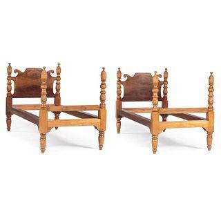 A Pair of Colonial British Honduran Mahogany Twin Beds