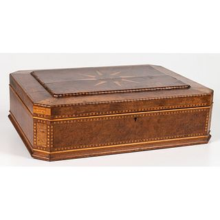 A Large Inlaid & Burlwood Sewing Box