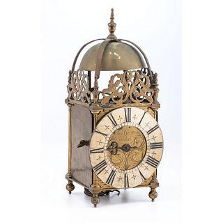An English Brass Lantern Clock, Dial Signed Charles Gretton