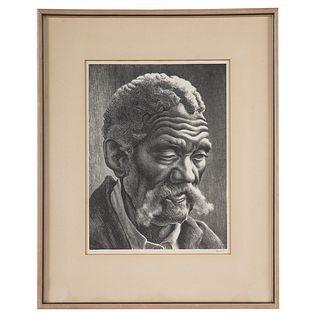 """Thomas Hart Benton.""""Aaron,"""" lithograph"""