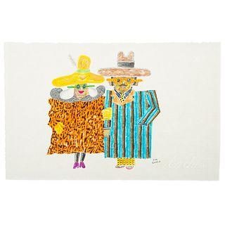 "Ronald Markman. ""Couple,"" colored pencil"