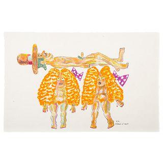 """Ronald Markman. """"Menage a Trois,"""" colored pencil"""