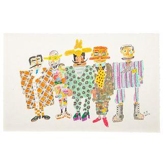 """Ronald Markman. """"Suits,"""" colored pencil"""