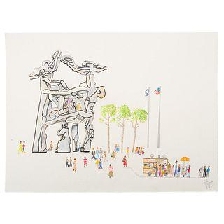 "Ronald Markman. ""Chase Manhattan Plaza,"" pencil"
