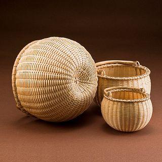 Nesting Set of Three Swing Handle Baskets