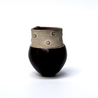 Tiny Pinch Pot with Textured Slab with Stripes and Dots