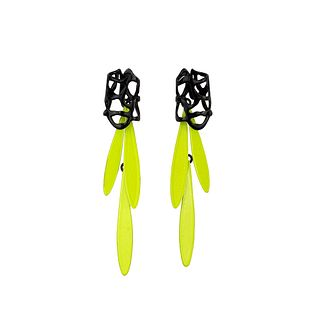 Lace Stud and Fringe Earring, Black+Chartreuse