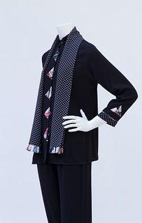 Black Rayon Swing Jacket with Dot/ Geisha Trim