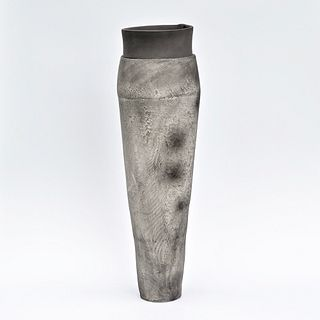 Tall Smoke Fired Coil Vessel with Soft Texture